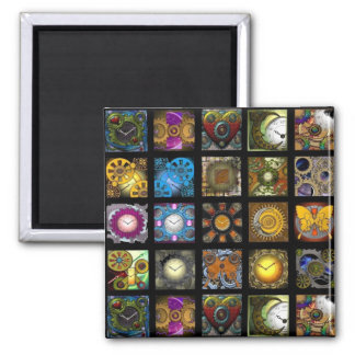 Steampunk Designs Square Magnet