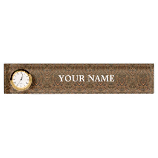 Steampunk Desk Nameplate with Clock