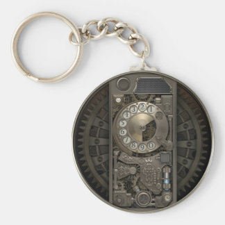 Steampunk Device - Rotary Dial Phone. Basic Round Button Keychain
