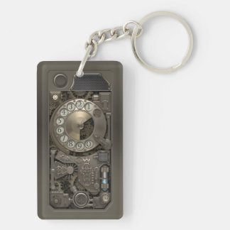 Steampunk Device - Rotary Dial Phone. Double-Sided Rectangular Acrylic Keychain
