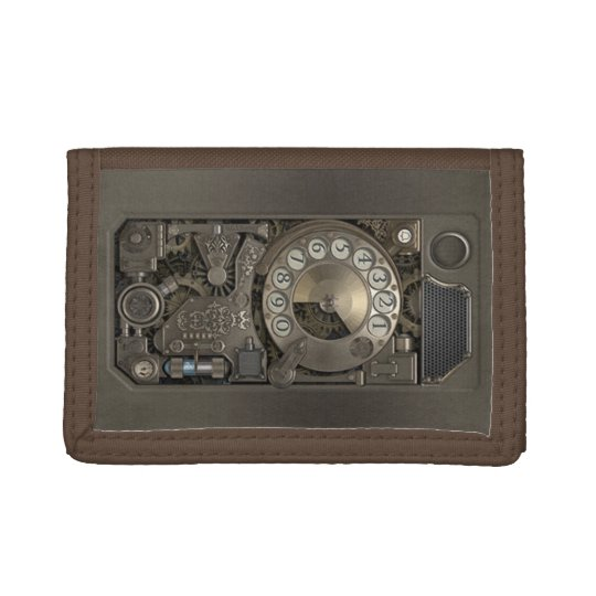 Steampunk Device - Rotary Dial Phone. Trifold Wallet