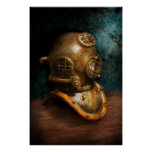 Steampunk - Diving - The diving helmet Print