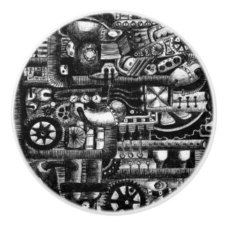 steampunk draw machinery cartoon mechanism pattern ceramic knob