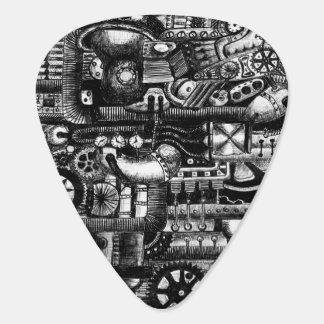 steampunk draw machinery cartoon mechanism pattern guitar pick