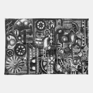 steampunk draw machinery cartoon mechanism pattern kitchen towel