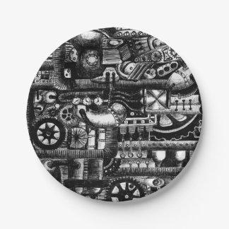 steampunk draw machinery cartoon mechanism pattern paper plate