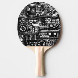 steampunk draw machinery cartoon mechanism pattern ping pong paddle