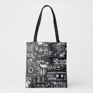 steampunk draw machinery cartoon mechanism pattern tote bag
