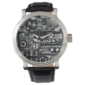 steampunk draw machinery cartoon mechanism pattern watch