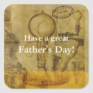 Steampunk Edison Light Bulb Great Father's Day Square Sticker
