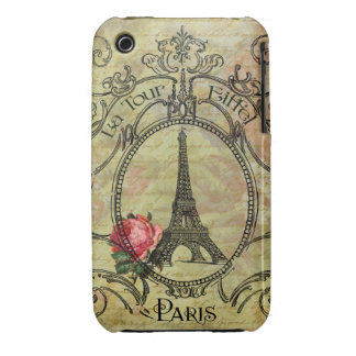 Steampunk Eiffel Tower Paris Red Rose iPhone 3 Covers