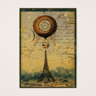 Steampunk Eiffel Tower Profile Business Cards