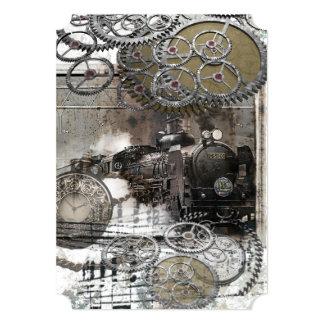 Steampunk Engine Gears Wedding Invitation
