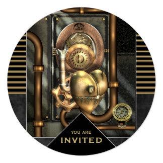 """Steampunk Event Any Occasion 5.25"""" Square Invitation Card"""