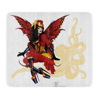 Steampunk fairy all in red cutting boards
