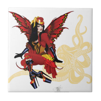 Steampunk fairy all in red tile