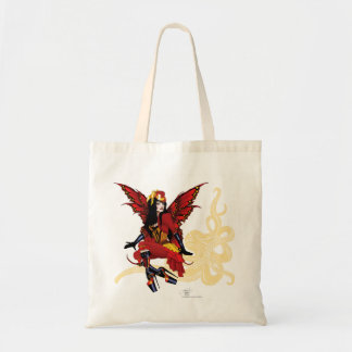 Steampunk fairy all in red tote bag