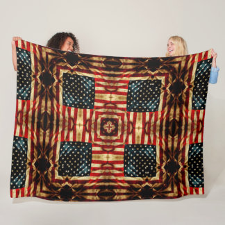 Steampunk Fantasy July Fourth Independence Quilt Fleece Blanket