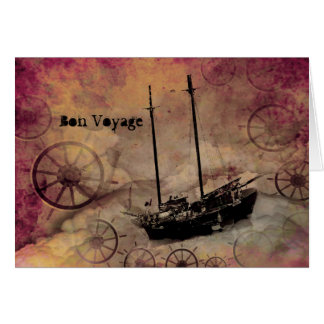 Steampunk Fantasy Ship Traveller Bon Voyage Card