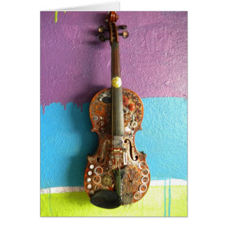 Steampunk Fiddle Note Card