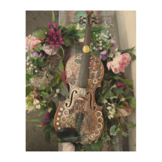 Steampunk Fiddle Wood Wall Art