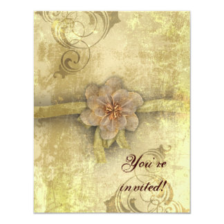 Steampunk Floral Vintage Wedding Card