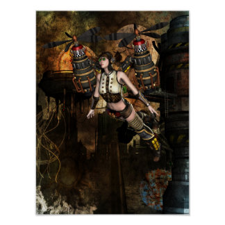 steampunk flying girl poster