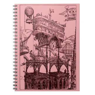 Steampunk Flying Over Paris Notebook