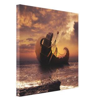 Steampunk Fractalscape, Ship for All Destinations Canvas Print