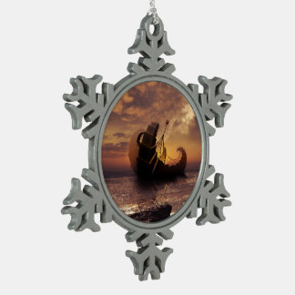 Steampunk Fractalscape, Ship for All Destinations Snowflake Pewter Christmas Ornament