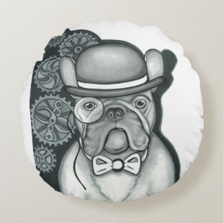 Steampunk French Bulldog round accent pillow