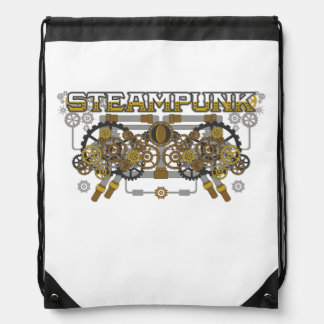 Steampunk Gears and Pipes Machine Drawstring Bag