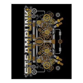Steampunk Gears and Pipes Machine Poster