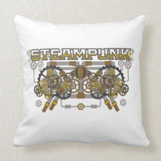Steampunk Gears and Pipes Machine Throw Pillow