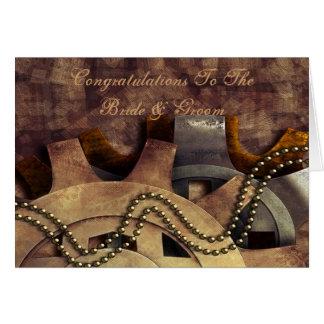 Steampunk Gears & Baubles Wedding Greeting Card