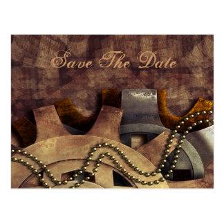 Steampunk Gears & Baubles Wedding Postcard