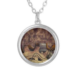 Steampunk Gears & Baubles Wedding Round Pendant Necklace