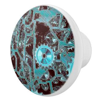 steampunk,gears ceramic knob