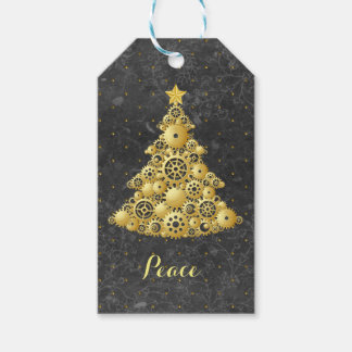 Steampunk Gears Gold Christmas Tree Gift Tags