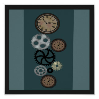 Steampunk Gears in Teal Poster