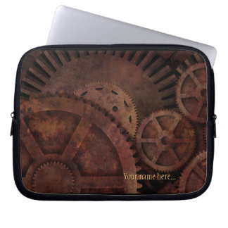 Steampunk Gears Industrial Machinery Laptop Sleeve