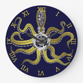 Steampunk Gears Octopus Kraken Nautical Gold Blue Large Clock