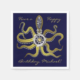 Steampunk Gears Octopus Kraken Paper Napkins