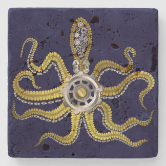 Steampunk Gears Octopus Kraken Stone Coaster