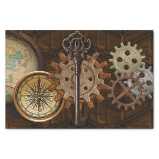 Steampunk Gears on Coppery-look Geometric Design Tissue Paper