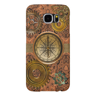 Steampunk Gears on Metal-look Geometric Design Samsung Galaxy S6 Cases