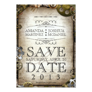 "Steampunk Gears Victorian Save the Date 5"" X 7"" Invitation Card"