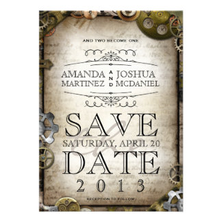 Steampunk Gears Victorian Save the Date Cards