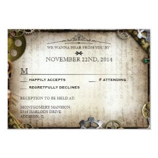"Steampunk Gears Victorian Wedding RSVP Response 3.5"" X 5"" Invitation Card"