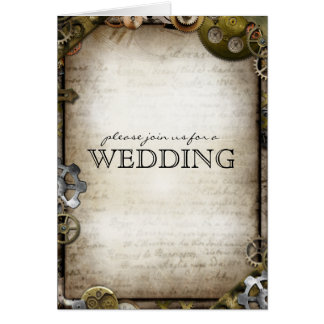 Steampunk Gears Wedding Invitation Greeting Cards